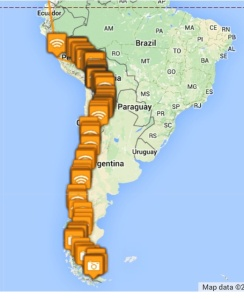 The route through South America Andes.
